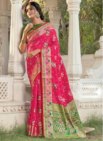 Dark Pink Silk Festival Wear Designer Weaving Saree