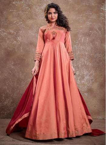 Dark Pink Silk Party Wear Fancy Embroidery Work Gown With Dupatta