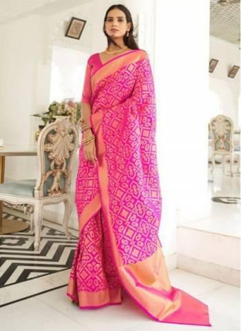 Dark Pink Silk Traditional Wear Fancy Weaving Saree