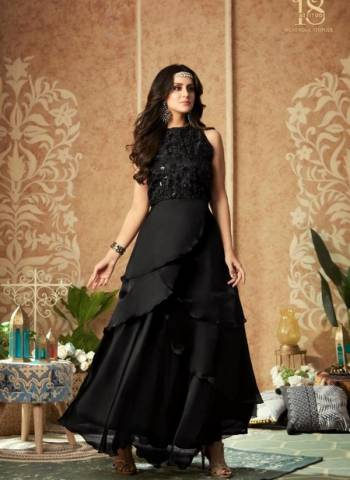 Designer Black Party Wear Silk Handwork Gown