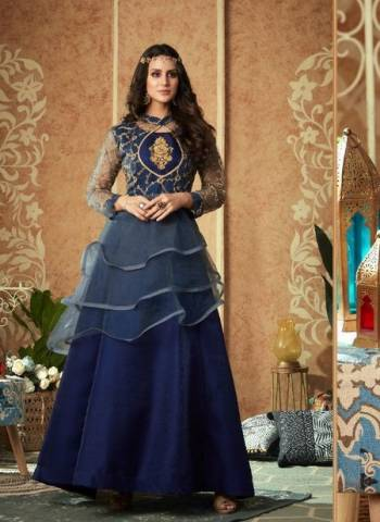 Designer Blue Party Wear Net Handwork Gown