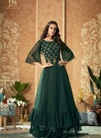 Designer Green Party Wear Net Handwork Gown
