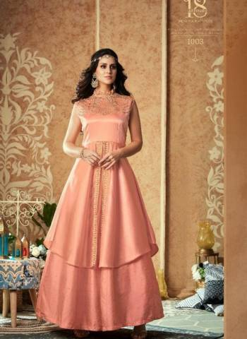 Designer Peach Party Wear Georgette Handwork Gown