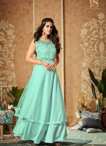 Designer Sky Blue Party Wear Georgette Handwork Gown