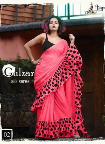 Designer Pink Party Wear Ruffle Saree