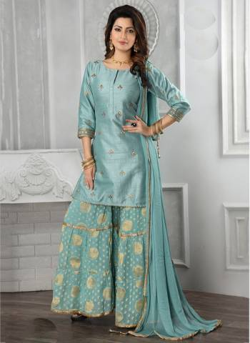 Firozi Art silk Party Wear Designer Thread Work Readymade Sharara Suit