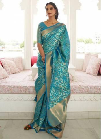 Firozi Silk Traditional Wear Fancy Weaving Saree