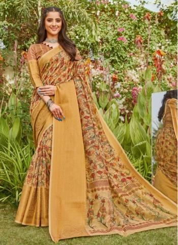 Golden Linen Party Wear Designer Weaving Saree