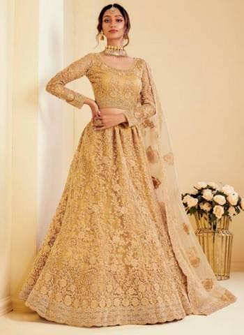 Golden Net Satin Wedding Wear Embroidery Work Lehenga Choli