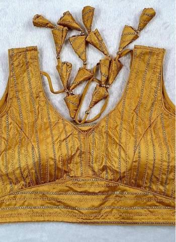 Golden Pure Fancy Silk Party Wear Sequins Work Blouse