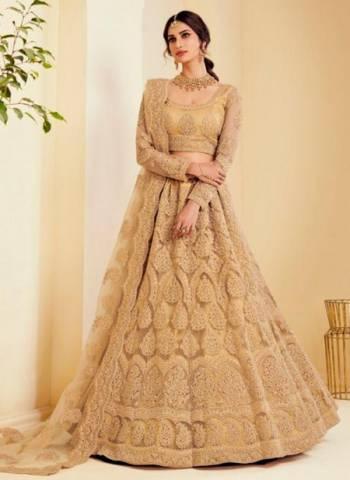 Golden Satin Silk Wedding Wear Embroidery Work Lehenga Choli
