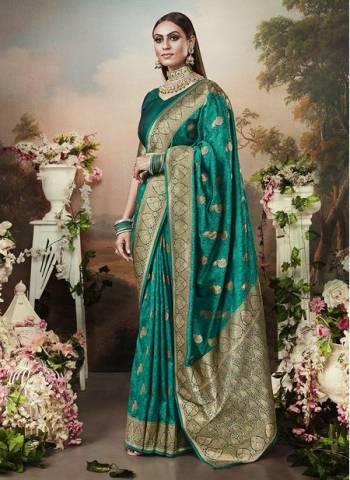 Green Banarasi Silk Designer Weaving Wedding Wear Saree