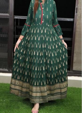 Green Cotton Regular Wear Printed Work Long Gown