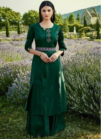 Green Cotton Silk Festival Wear Designer Embroidery Work Gown