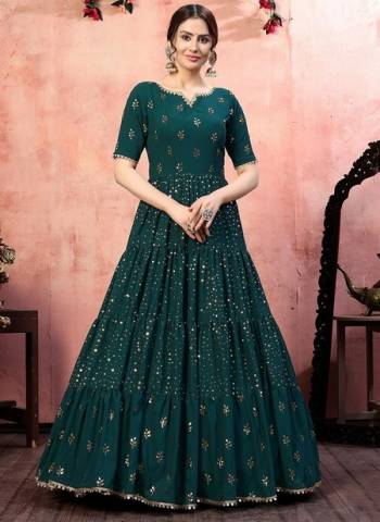 Green Georgette Party Wear Sequins Work Gown
