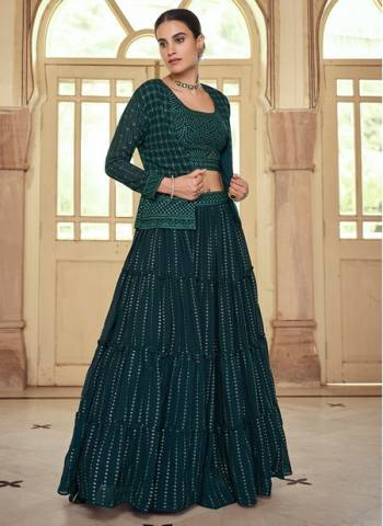 Green Georgette Wedding Wear Stylish Thread Work Lehenga Choli