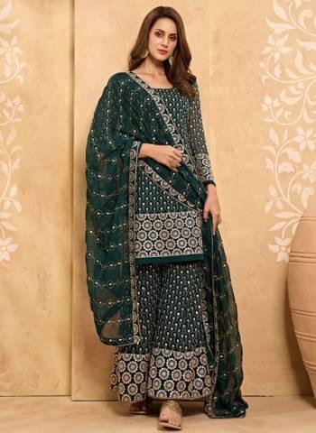 Green Georgette Party Wear Zari Work Sharara Suit