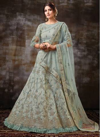 Green Net Wedding Wear Designer Zari Work Lehenga Choli