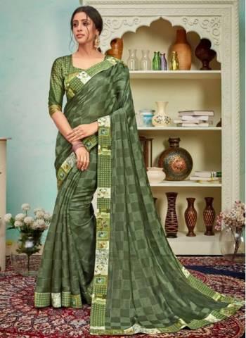 Green Polyster Silk Party Wear Designer Digital Border Work Saree