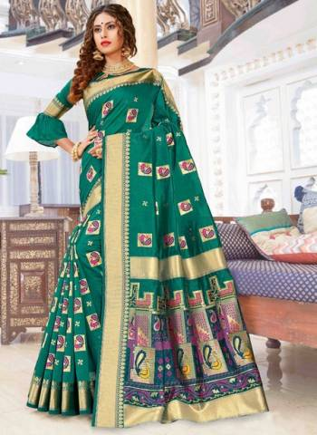 Green Pure Chanderi Cotton Party Wear Weaving Sarees
