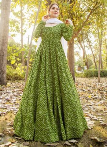 Green Pure Muslin Party Wear Print Work Gown With Dupatta