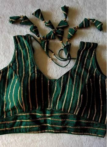 Green Pure Fancy Silk Party Wear Sequins Work Blouse