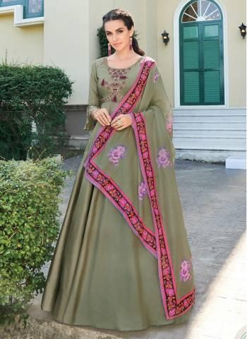 Green Silk Festival Wear Designer Embroidery Work Readymade Anarkali Suit