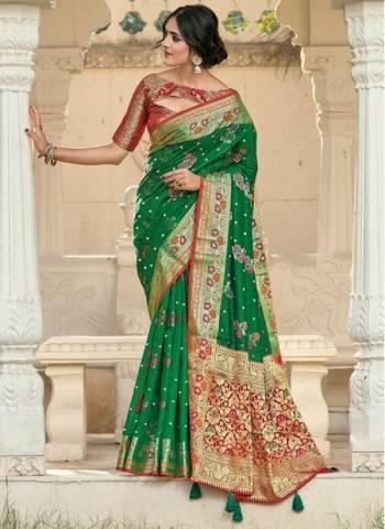 Green Silk Festival Wear Designer Weaving Saree
