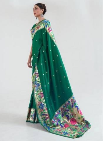 Green Silk Wedding Wear Fancy Weaving Saree