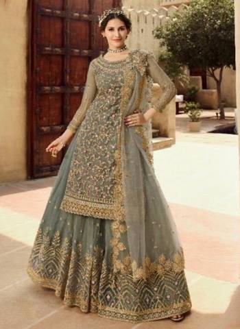 Grey Net Bridal Wear Embroidery Work Designer Sharara Suit