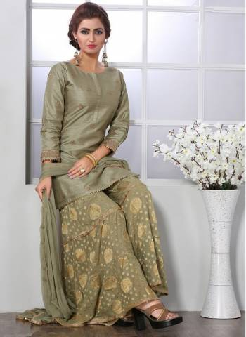 Grey Chanderi silk Party Wear Designer Thread Work Readymade Sharara Suit