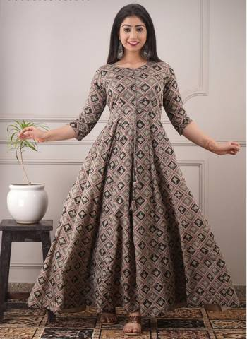 Grey Chanderi Casual Wear Designer Foil Printed Gown
