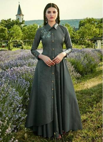 Grey Cotton Silk Festival Wear Designer Embroidery Work Gown