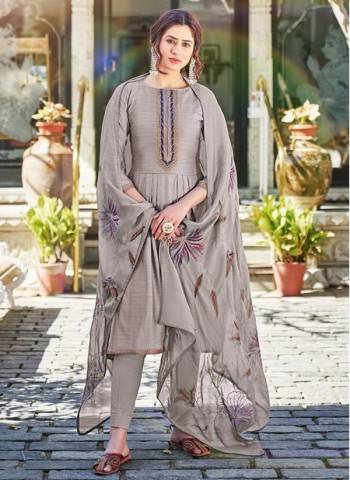 Grey Cotton Silk Party Wear Embroidery Work Palazzo Suit