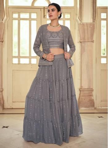 Grey Georgette Wedding Wear Stylish Thread Work Lehenga Choli