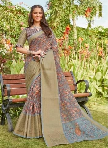 Grey Linen Party Wear Designer Weaving Saree