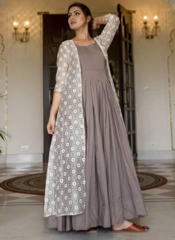 Grey Muslin Silk Party Wear Digital Print Gown