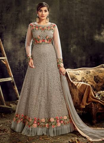 Grey Net Wedding Wear Embroidery Work Designer Anarkali Suit