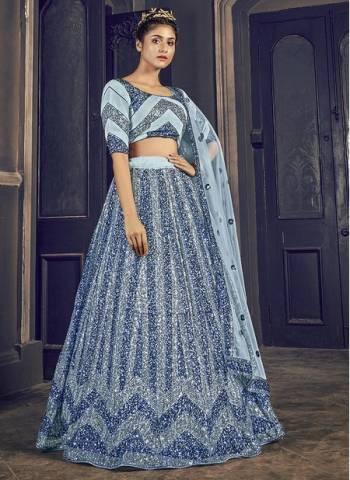 Grey Net Wedding Wear Sequins Work Fancy Lehenga Choli