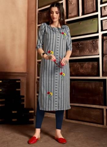 Grey Pure Cotton Casual Wear Hand Work Designer Kurti