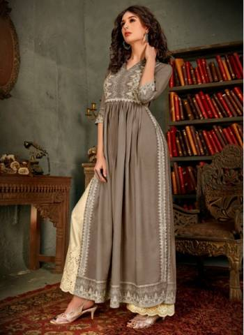 Grey Pure Rayon Traditional Wear Designer Hand Work Kurti With Pant