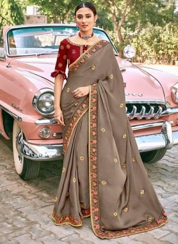 Grey Satin Silk Party Wear Border Work Designer Saree