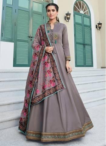 Grey Silk Festival Wear Designer Embroidery Readymade Anarkali Suit