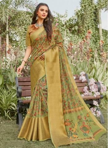 Light Green Linen Party Wear Designer Weaving Saree