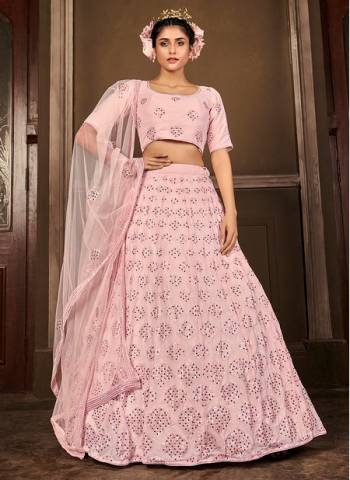 Light Pink Georgette Bridal Wear Stylish Embroidery Work Lehenga Choli
