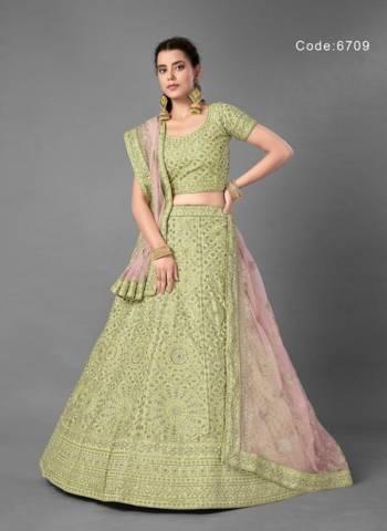 Light green Art Silk Wedding Wear Thread Work Lehenga
