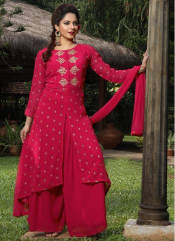 Magenta Georgette Party Wear Designer Thread Work Readymade Sharara Suit