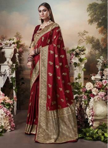 Maroon Banarasi Silk Designer Heavy Weaving Wedding Wear Saree