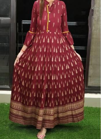 Maroon Cotton Regular Wear Printed Work Long Gown