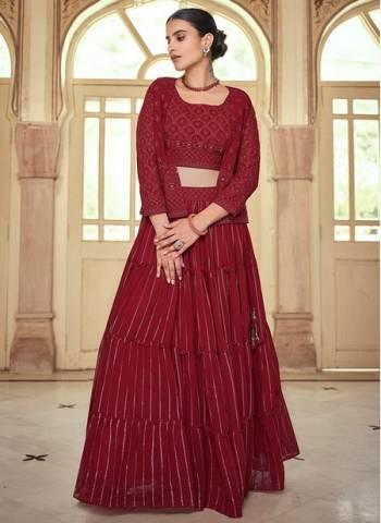 Maroon Georgette Wedding Wear Stylish Thread Work Lehenga Choli